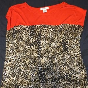 Red & Leopard Print Blouse